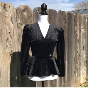 Vintage 80s black velvet peplum top